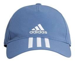 Boné adidas Aba Curva Strapback 3 Listras - Azul E Branco
