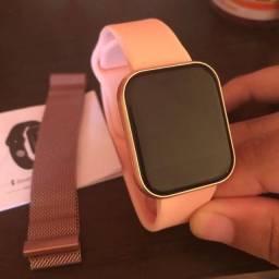 Relógio inteligente I5 Pulseira Metal Gratis