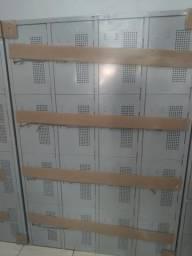 Armário vestiário 16 portas aço com pitão cadeado cor cinza com reforço nas portas Novos
