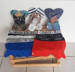 Cuecas Calvin Klein e sandálias colcci e reserva