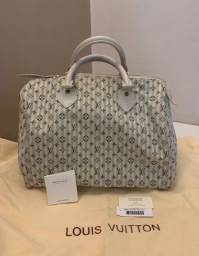 Bolsa Louis Vuitton Mini Lin Croisette Speedy 30 Blue Original