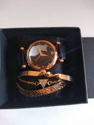 Relógio Magnético E Pulseiras Luxo Feminino 4 Pçs