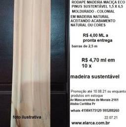 rodapé madeira maciça moldurado 1,5x 6,5  4,00 ml pronta entrega