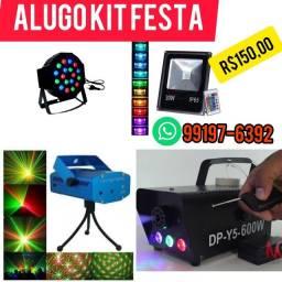 Alugo kit Festa,(R$150,00)  máquina fumaça , canhão led , Mine laser, refletor color