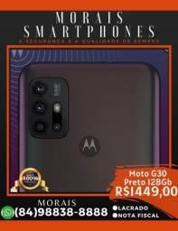 Motorola G30 128Gb 6Gb RAM Preto (LACRADO COM NOTA FISCAL)