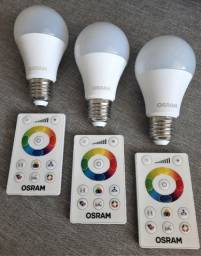 KIT 3 Lâmpadas LED Osram - Bulbo - RGB, 7,5W