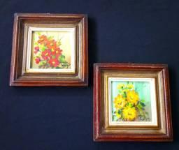 Lindo par de quadros de arte pintados à mão, emoldurados