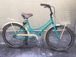 Bicicleta Retrô verde pneu creme