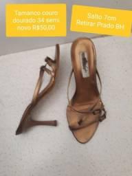 Sapatos couro semi novos 34