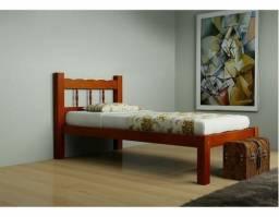 Cama de solteiro de madeira nova no PREGÃO 2 IRMÃOS