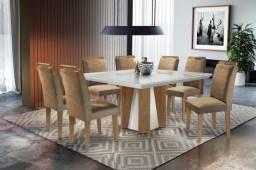 Mesa de Jantar Valença Vidro OffWhite c/ 8 cadeiras - Entrega Rápida