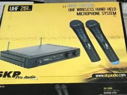 Microfone Sem Fio Duplo Dinâmico Skp Uhf 261