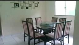 Vendo mesa de vidro com 8 cadeiras