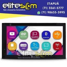 Central Multimídia Universal 2Din 7pol. E-tech Tv Digital Usb Sd Dvd na Elite Som