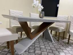 Mesa de Jantar Petra 180cm Vidro Reto 180 Off White/Imbuia c/ 6 cadeiras