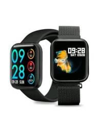 Smartwatch P80 preto/rosa