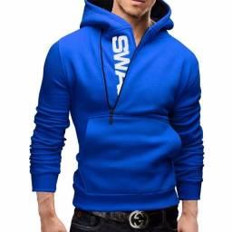 Moletom Masculino de Qualidade Slim Swag Azul, Cinza ou Preto