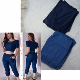 Conj. Calça e Cropped Jeans (Tam. Único 'Forma Grande')