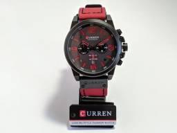 Relógio Masculino Curren Vermelho e Preto