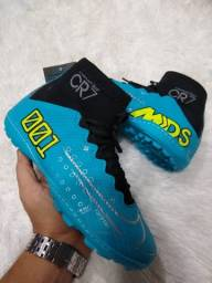 Chuteira Nike CR7 Azul com preta (Frete Gratis)