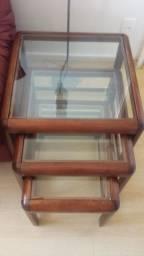 Mesas de Mogno maciço - 3 tamanhos- Tampa de vidro removivel -Conservadíssima -