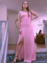 Vestido longo de festa rosé