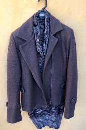 Casaco curto lã bouclê marrom