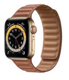 Apple Watch Customizado S6 40mm GPS + CEl Inox Gold + Leather Link Band Saddle Brown