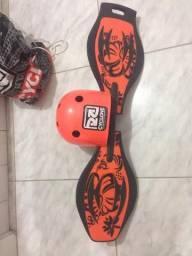 Skate wave 2 rodas com capacete