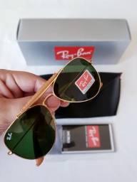 207ec4f42 Óculos de sol Rayban Aviador Caçador Couro 1 linha Proteção UV400 na Caixa