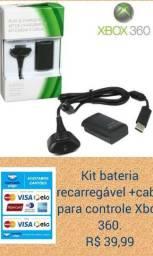 Kit bateria recarregável+cabo para controle xbox 360