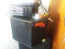 Caixa de som + amplificador 12 e 127 Volts, pra carro e propaganda.