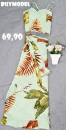Conjuntinho de saia + calça transpassada com cropped