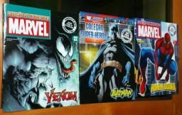 Lote com 3 revistas que acompanhavam as miniaturas de heróis da Marvel e DC