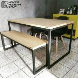 Mesa de jantar 4 lugares estilo industrial Goiânia e Anápolis