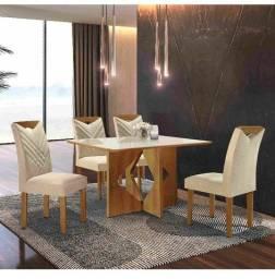 Sala mesa jantar 4 cadeiras tampo de vidro ZAP *