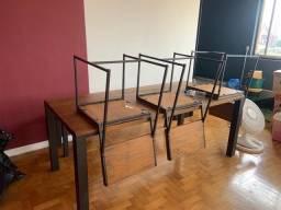 Mesa de jantar de madeira 6 lugares + banco + 3 cadeiras