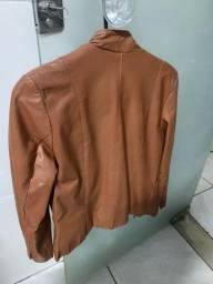 Jaqueta de couro legítimo sem detalhes passo cartão
