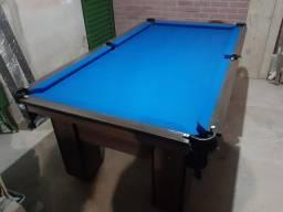Mesa de Bilhar Charme Imbuia Tecido Azul Modelo EOD3351