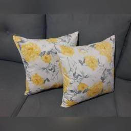 Almofadas em Suede - Floral Amarelo