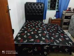 Cama solteiro com auxiliar 9cm de espuma selada conjugada nas duas camas