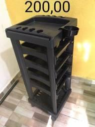 Carrinho Multi Uso Para Salão de Cabelereiro, cor preta