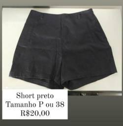 Short preto tamanho P ou 38 - Retirada em Contagem