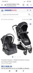Carrinho Moisés + bebê conforto + adaptador para usar como cadeirinha de carro