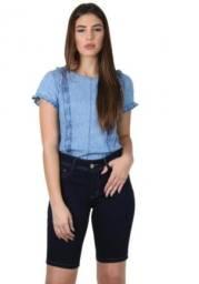 Bermuda/shorts jeans feminina azul - 40 - Denim Collection