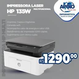 Vende-se impressora multifuncional hp laser 135w - preto e branco wi-fi usb