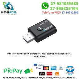 920 - Receptor de Áudio Transmissor Mini Estéreo Bluetooth Aux Rca Usb 3.5mm