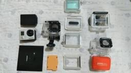 GoPro Hero 3 silver com tela e acessórios