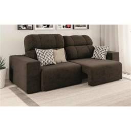 Sofá 4 Lugares Linoforte Versalhes com Assento Retrátil e Encosto Reclinável