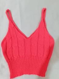 Cropped feminino de tricô